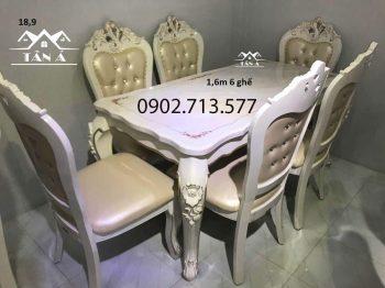 bàn ăn tân cổ điển đẹp giá rẻ, bộ bàn ăn 6 8 ghế nhập khẩu đài loan