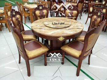 Bộ bàn ăn tròn mặt đá gỗ sồi nhập khẩu đài loan, bàn ăn đẹp giá rẻ