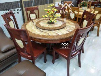 Bộ bàn ăn tròn mặt đá xoay 6 8ghế gỗ sồi nhập khẩu, bàn ăn hiện đại giá rẻ