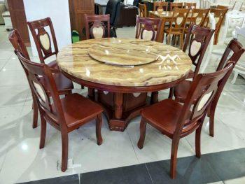 Bộ bàn ăn tròn mặt đá mâm xoay 8 ghế gỗ sồi nhập đài loan