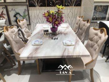 bộ bàn ăn mặt đá hiện đại 8 ghế nhập khẩu đài loan