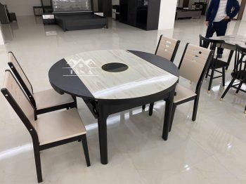 bộ bàn ăn tròn mặt đá 4 6 8 ghế nhập khẩu đài loan, bàn ăn gỗ sồi tự nhiên