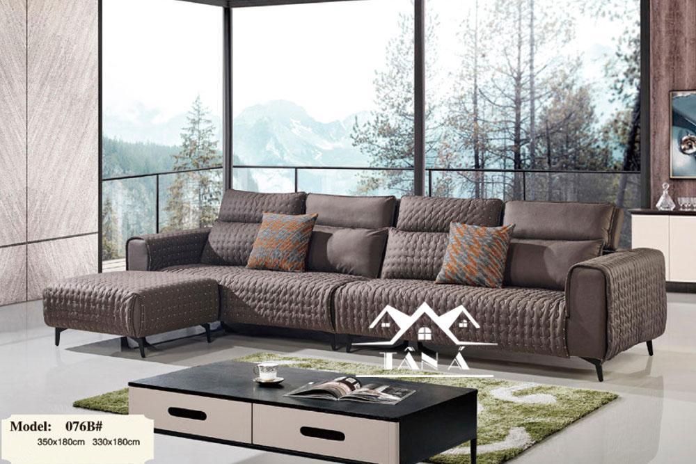 Sofa vải giả da hiện đại ứng dụng mới trong chất liệu nội thất.