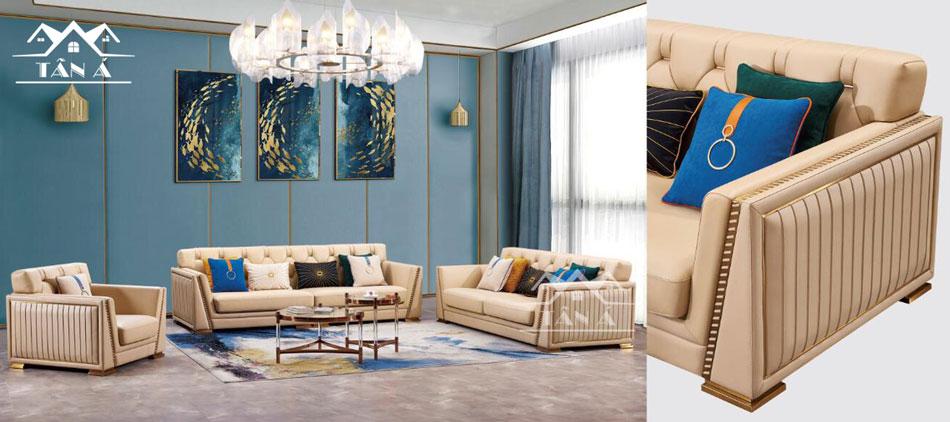 Sofa da bò tiếp xúc nhập khẩu Malaysia theo xu hướng thiết kế mới lạ.