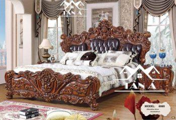 Giường ngủ tân cổ điển cao cấp nhập khẩu đài loan, giường ngủ bọc da bò thật cao cấp
