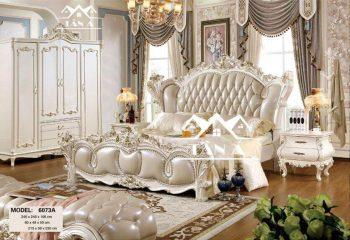 Bộ giường ngủ tân cổ điển đẹp hàng nhập khẩu đài loan, giường ngủ gỗ sồi nga