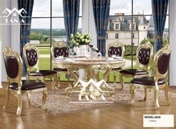 bàn ăn mặt đá chân inox mạ vàng