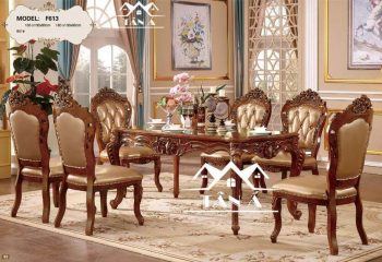 Bộ bàn ghế ăn tân cổ điển ghế bọc da cao cấp