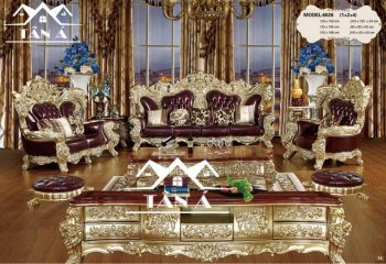 bộ bàn ghế sofa phòng khách tân cổ điển hàng nhập khẩu đài loan, sofa da bò thật