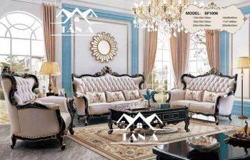 Sofa Tân Cổ Điển Da Bò Nhập Khẩu Đài Loan, sofa phòng khách