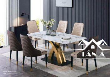 bàn ăn mặt đá 6 ghế inox cao cấp