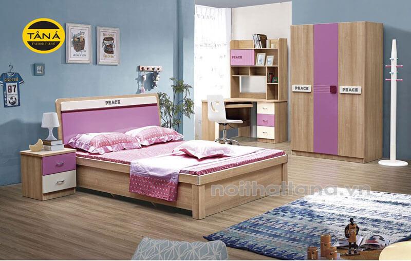 Bộ giường ngủ hiện đại màu hồng cho bé giá