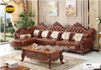 Ghế sofa tân cổ điển gỗ sồi bọc da cao cấp nhập khẩu đài loan