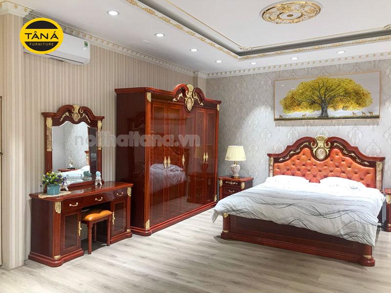 Bộ combo giường ngủ tân cổ điển bọc da đầu giường gỗ sồi nhập khẩu đài loan