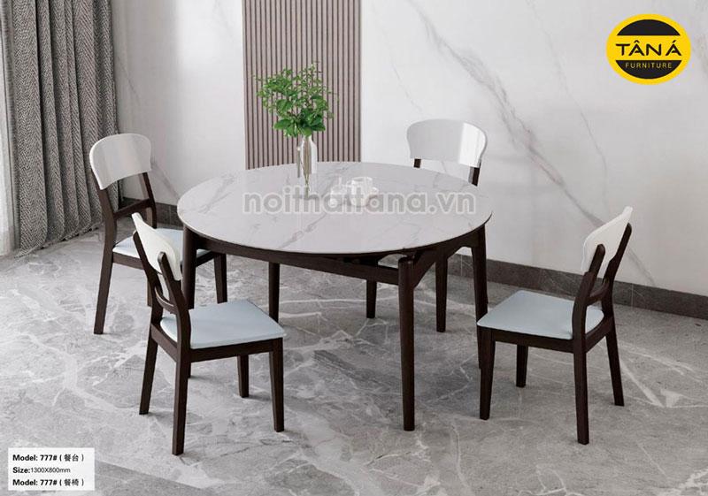 Bộ bàn ăn tròn mặt đá 6 ghế nhập khẩu đài loan