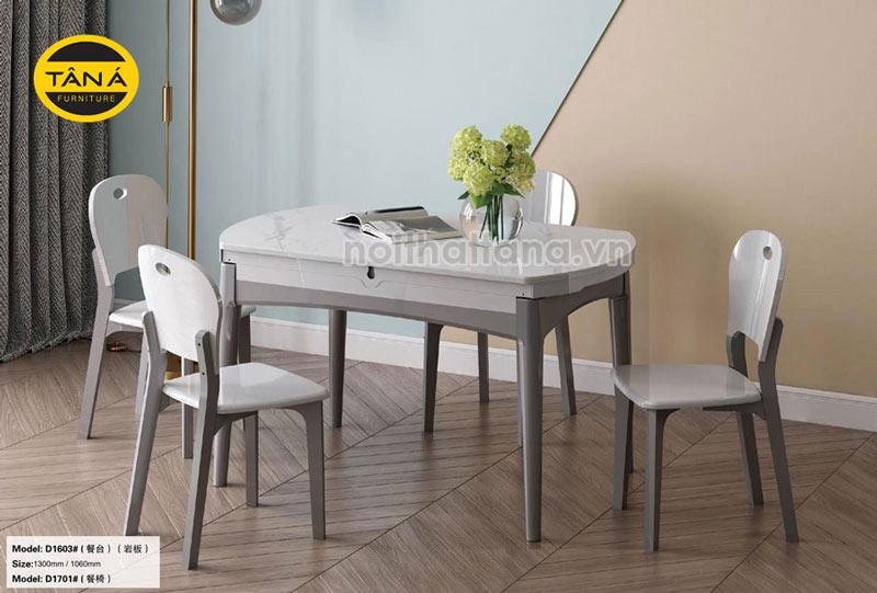 Bộ bàn ăn mặt đá tròn gấp gọn 6 ghế nhập khẩu đài loan