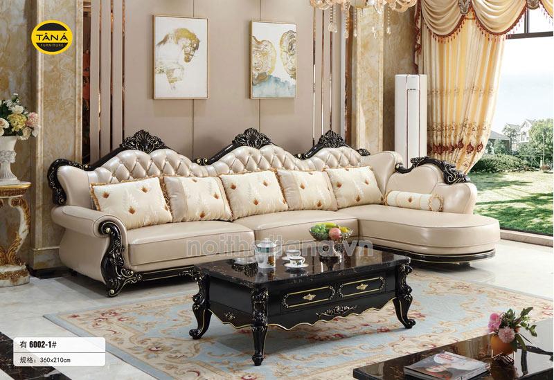 Ghế sofa da tân cổ điển góc l đẹp nhập khẩu giá rẻ