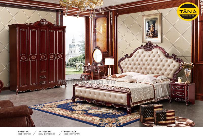 Bộ combo giường tủ bàn trang điểm tân cổ điển nhập khẩu Đài Loan