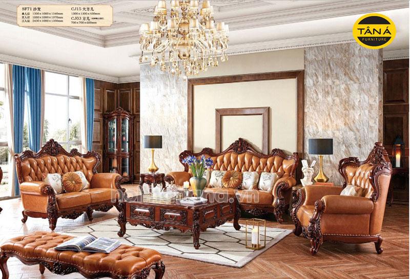 Bộ sofa 123 tân cổ điển da bò tiếp xúc nhập khẩu đài loan